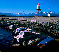 Look out tower on jetty. Hammerfest Norway 1975