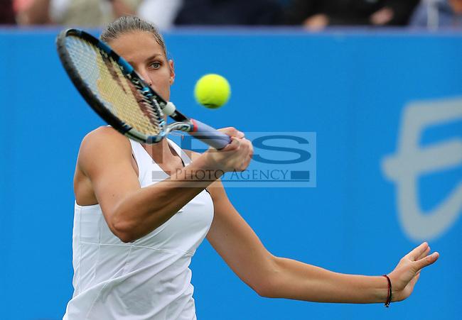 Karolina PLISKOVA (CZE) in action against Caroline WOZNIACKI (DEN) during the final day of the Aegon International played at Devonshire Park, Eastbourne on 1 July 2017