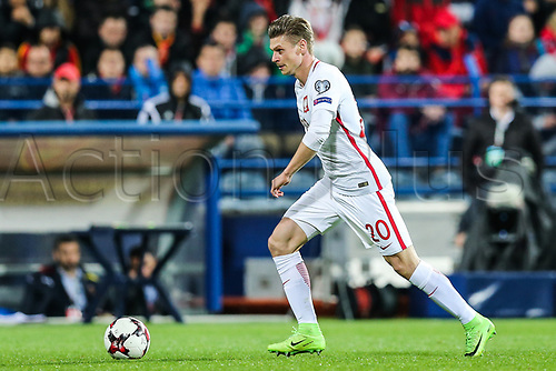 March 26th 2017, Podgorica City Stadium,  Montenegro; World Cup 2018 Internationl football qualification, Montenegro versus Poland;  Lukasz Piszczek comes forward with the ball