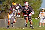 Palos Verdes, CA 03/30/10 - Jordan Yudess (Peninsula #11) and Ryan Brothers (Palos Verdes #8) in action during the Palos Verdes-Peninsula JV Boys Lacrosse game.