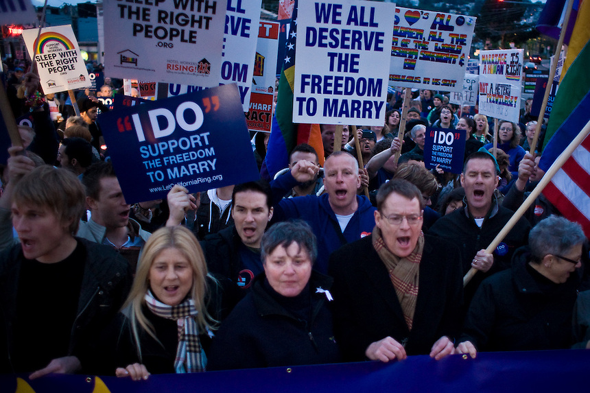 Protesters gather in San Francisco, Calif. on March 4, 2009 during an ongoing battle of marriage equality for gay and lesbian people throughout the state of California. On February 7, 2012, a U.S. Appeals court ruled that Proposition 8, banning gay marriage, was unconstitutional.