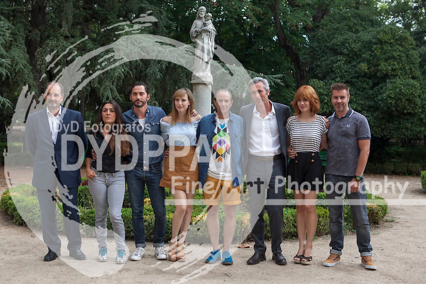 Director General Tele 5, Alvaro Agustin, Actress Candela Pena, Director Paco Leon, actress Natalia de Molina, actor Luis Callejo, productor Ghislain Barrois and actress Alexandra Jimenez attend the 'Kiki' Photocall at Centro Regional de Innovación on August 31, 2015 in Madrid, Spain.