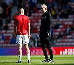 Alan Knill Assistant manager of Sheffield Utd  talks to Paul Coutts of Sheffield Utd during the Championship match at the Stadium of Light, Sunderland. Picture date 9th September 2017. Picture credit should read: Simon Bellis/Sportimage