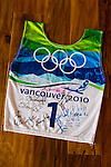 "Olympic skier Julia Mancuso at her home on the island of Maui, Hawaii.  Julia's ski bib from the Vancouver 2010 olympics, ""signed by a bunch of cool people."""