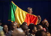 An attendee shows a flag in anticipation of the arrival of United States President Barack Obama at a Young African Leaders Initiative (YALI) town hall in Washington, DC. August 3, 2016.  <br /> Credit: Chris Kleponis / Pool via CNP
