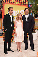 Ryan Goslin, Angourie Rice and Russell Crowe<br /> arrives for the premiere of &quot;The Nice Guys&quot; at the Odeon Leicester Square, London.<br /> <br /> <br /> &copy;Ash Knotek  D3120  19/05/2016