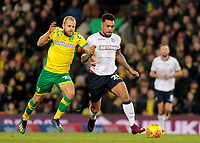 Norwich City's Teemu Pukki battles with Bolton Wanderers' Josh Magennis<br /> <br /> Photographer David Shipman/CameraSport<br /> <br /> The EFL Sky Bet Championship - Norwich City v Bolton Wanderers - Saturday 8th December 2018 - Carrow Road - Norwich<br /> <br /> World Copyright &copy; 2018 CameraSport. All rights reserved. 43 Linden Ave. Countesthorpe. Leicester. England. LE8 5PG - Tel: +44 (0) 116 277 4147 - admin@camerasport.com - www.camerasport.com