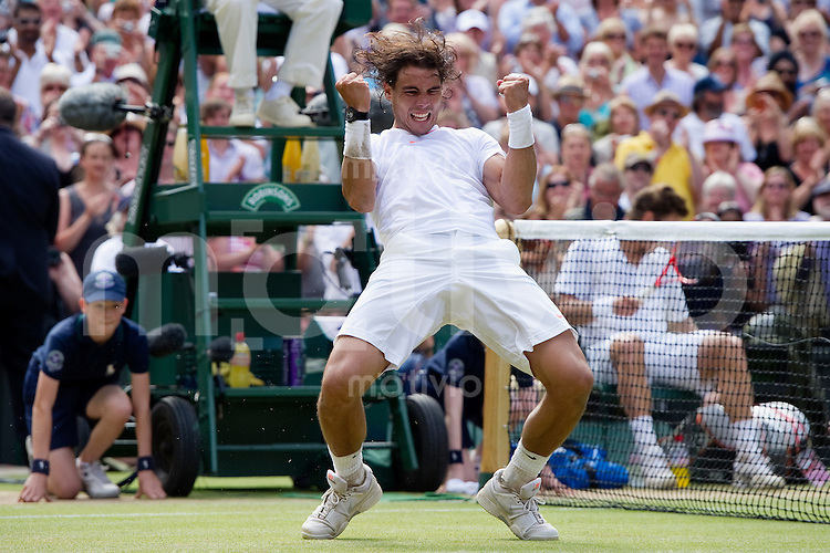 PThe Final of the Gentlemens Singles  Rafael Nadal (ESP) celebrates after winning against Tomas Berdych (CZE)  on Centre Court. The Wimbledon Championships 2010 The All England Lawn Tennis & Croquet Club  Day 13 Sunday 04/07/2010