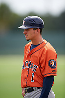 GCL Astros Cesar Cortez (1) during a game against the GCL Marlins on July 22, 2017 at Roger Dean Stadium Complex in Jupiter, Florida.  GCL Astros defeated the GCL Marlins 5-1, the game was called in the seventh inning due to rain.  (Mike Janes/Four Seam Images)