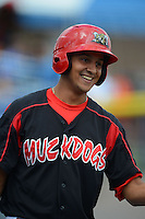 Batavia Muckdogs infielder Carlos Lopez (36) during a game against the Jamestown Jammers on July 24, 2013 at Dwyer Stadium in Batavia, New York.  Jamestown defeated Batavia 9-7.  (Mike Janes/Four Seam Images)