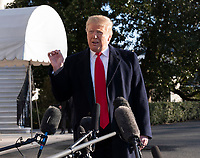 United States President Donald J. Trump speaks to the media as he departs the White House in Washington, DC for Camp David on Sunday, January 6, 2019.<br /> CAP/MPI/RS<br /> &copy;RS/MPI/Capital Pictures