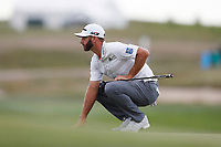 Dustin Johnson (USA) lines up a putt on the 17th hole during the first round of the 118th U.S. Open Championship at Shinnecock Hills Golf Club in Southampton, NY, USA. 14th June 2018.<br /> Picture: Golffile | Brian Spurlock<br /> <br /> <br /> All photo usage must carry mandatory copyright credit (&copy; Golffile | Brian Spurlock)