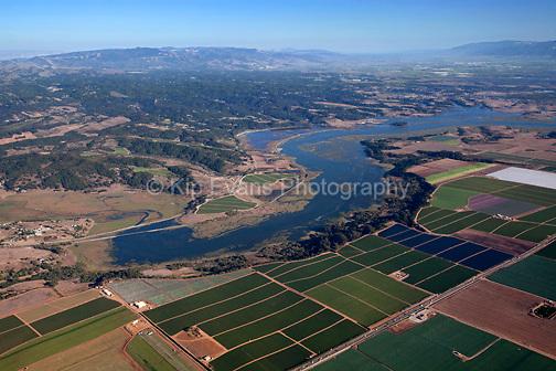 Aerial view of Elkhorn Slough in Moss Landing, California, looking east/southeast.