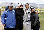 Chelsea Latu with coaches at the Sophomore Day celebration after the first game of the Western Nevada College softball doubleheader on Saturday, April 30, 2016 at Pete Livermore Sports Complex. Photo by Shannon Litz/Nevada Photo Source