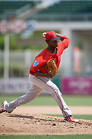 Boston Red Sox pitcher Yoan Aybar (32) delivers a pitch during a Florida Instructional League game against the Baltimore Orioles on September 21, 2018 at JetBlue Park in Fort Myers, Florida.  (Mike Janes/Four Seam Images)