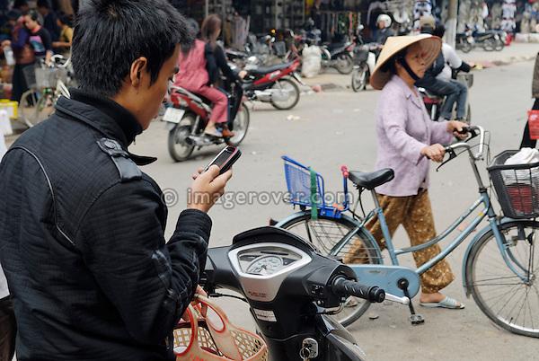 Asia, Vietnam, Ninh Binh. Modern street life.