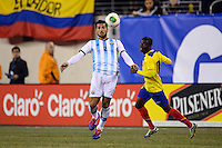 Argentina defender Ezequiel Garay (2). Argentina and Ecuador played to a 0-0 tie during an international friendly at MetLife Stadium in East Rutherford, NJ, on November 15, 2013.
