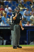 Umpire Paul Clemons makes a call during a game between the New Britain Rock Cats and Reading Fightin Phils on August 7, 2015 at FirstEnergy Stadium in Reading, Pennsylvania.  Reading defeated New Britain 4-3 in ten innings.  (Mike Janes/Four Seam Images)