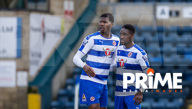 Nana Owusu (right) of Reading congratulates Rowan Liburd of Reading on his goal during the Barclays U21 Premier League match between Reading and Everton at Adams Park, High Wycombe, England on 9 December 2015. Photo by Andy Rowland.