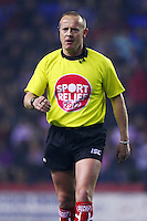 PICTURE BY VAUGHN RIDLEY/SWPIX.COM - Rugby League - Super League - Wigan Warriors v Warrington Wolves - JJB Stadium, Wigan, England - 23/03/12 - Referee Richard Silverwood.  Sport Relief Referee Shirt.