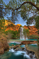 Havasu Falls, travertine, and cottonwood trees,  Havasupi Reservation, Arizona.