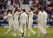 7th September 2017, Lords Cricket Ground, London, England; International Test Match Series, Third Test, Day 1; England versus West Indies; England Bowler James Anderson claims the wicket of West Indies Kyle Hope, Anderson's 499th test wicket, and high fives England Captain Joe Root