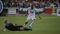 SAN JOSE, CA - SEPTEMBER 25: Florian Jungwirth #23 of the San Jose Earthquakes and Ray Gaddis #28 of the Philadelphia Union during a game between Philadelphia Union and San Jose Earthquakes at Avaya Stadium on September 25, 2019 in San Jose, California.
