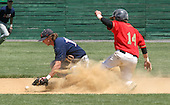 DeSales University Greg Treat makes an error at second base to allow King's College .J.R. Graver, to arrive safely at second base. DeSales just couldn't find their groove and lost to the Kings of Wilkes-Barre, Pa. 6-3, on Sunday May 7, 2006 during the 6th Annual Middle Atlantic Freedom Conference hosted by DeSales University at Memorial Park in Quakertown, Pa. (Jane Therese/Special to The Morning Call).