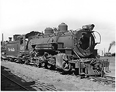 D&amp;RGW #496 K-37 with #493 in background and #473 coupled behind.<br /> D&amp;RGW  Alamosa, CO  Taken by Payne, Andy M. - 8/22/1954