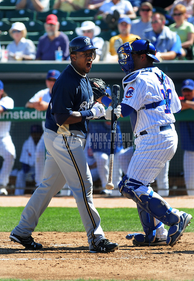 Mar 4, 2008; Mesa, AZ, USA; Milwaukee Brewers infielder Rickie Weeks reacts after striking out against the Chicago Cubs at HoHoKam Park. Mandatory Credit: Mark J. Rebilas-