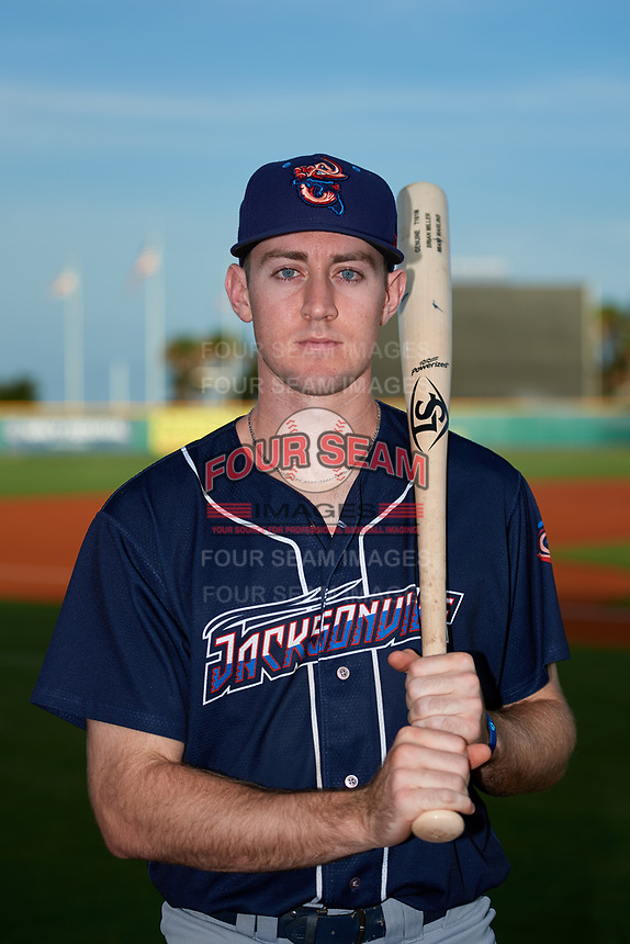 Jacksonville Jumbo Shrimp Brian Miller (7) poses for a photo before a game against the Pensacola Blue Wahoos on August 15, 2018 at Blue Wahoos Stadium in Pensacola, Florida.  Jacksonville defeated Pensacola 9-2.  (Mike Janes/Four Seam Images)