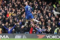 Chelsea fans celebrate Mason Mount scoring his side's first goal<br /> <br /> <br /> Photographer Stephanie Meek/CameraSport<br /> <br /> The Premier League - Chelsea v Everton - Sunday 8th March 2020 - Stamford Bridge - London<br /> <br /> World Copyright © 2020 CameraSport. All rights reserved. 43 Linden Ave. Countesthorpe. Leicester. England. LE8 5PG - Tel: +44 (0) 116 277 4147 - admin@camerasport.com - www.camerasport.com