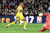 September 8th 2017, Stade Saint-Symphorien, Metz, France; French League 1 football, Metz versus Paris St Germain;  KYLIAN MBAPPE (psg) shoots against keeper Kawashima