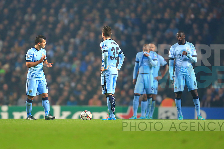 Manchester City look dejected following CSKA's second goal - Manchester City vs. CSKA Moscow - UEFA Champions League - Etihad Stadium - Manchester - 05/11/2014 Pic Philip Oldham/Sportimage