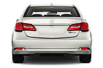 Straight rear view of 2016-2017 Acura RLX Sport Hybrid 4 Door Sedan stock images