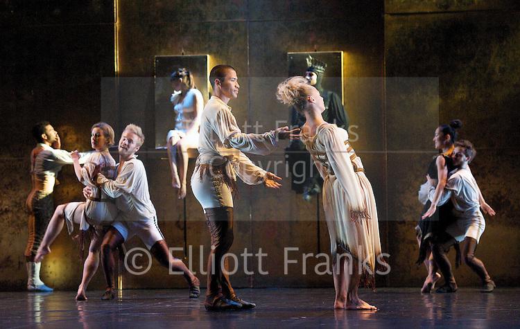 Snow White<br /> Ballet Preljocaj<br /> at Sadler's Wells, London, Great Britain <br /> press photocall<br /> 10th May 2012 <br /> <br /> Virginie Caussin (as Snow White)<br /> <br /> Sergio Diaz (as The Prince)<br /> <br /> Patrizia Telleschi (as (The Queen)<br /> <br /> Nuryia Nagimova (as The Mother)<br /> <br /> Sergi Amoros Aparicio (as The King)<br /> <br /> choreography by <br /> Angelin Preljocaj<br /> <br /> costumes by Jean Paul Gaultier<br /> <br /> Photograph by Elliott Franks
