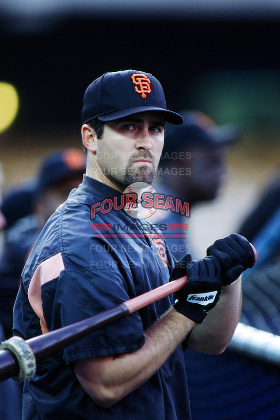 Rich Aurilia of the San Francisco Giants before a 1999 Major League Baseball season game against the Los Angeles Dodgers at Dodger Stadium in Los Angeles, California. (Larry Goren/Four Seam Images)