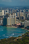 View of Waikiki Beach and Honolulu from the summit of Diamond Head Crater Park, Oahu, Hawaii