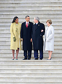 Washington, DC - January 20, 2009 -- (L-R) Michelle Obama, President Barack Obama, Former United States President George W. Bush and Laura Bush share a laugh as they wait to wave goodbye as former Vice President Dick Cheney departs on the East Front of the US Capitol Building after Barack Obama was sworn in as the 44th President of the United States in Washington, DC, USA 20 January 2009.  Obama defeated Republican candidate John McCain on Election Day 04 November 2008 to become the next U.S. President..Credit: Tannen Maury - Pool via CNP