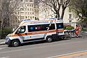 31 marzo 2020, Sassari, viale Italia. Ospedale Santissima Annunziata. Davanti all'ingresso del Pronto Soccorso.