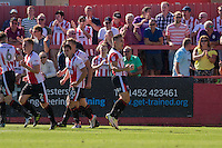 Billy Waters of Cheltenham  (third right) celebrates scoring his side's equalising goa; during the Sky Bet League 2 match between Cheltenham Town and Leyton Orient at the LCI Rail Stadium, Cheltenham, England on 6 August 2016. Photo by Mark  Hawkins / PRiME Media Images.