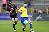 James Kaloczi of St Albans under pressure from Danny Newton of Stevenage during St Albans City vs Stevenage, Friendly Match Football at Clarence Park on 13th July 2019