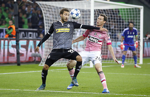 03.11.2015. Moenchengladbach, Germany, UEFA Champions League football group stages. Borussia Moenchangladbach versus Juventus.  Fabian Johnson (Bor. Moenchengladbach) (L) challenges Stephan Lichtsteiner (Juventus Turin)