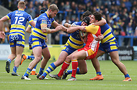 Catalans Dragons' Mickael Simon is tackled by Warrington Wolves' Mike Cooper,Josh Charnley and Joe Philbin <br /> <br /> Photographer Stephen White/CameraSport<br /> <br /> Betfred Super League Round 17 - Warrington Wolves v Catalans Dragons - Saturday 8th June 2019 - Halliwell Jones Stadium - Warrington<br /> <br /> World Copyright © 2019 CameraSport. All rights reserved. 43 Linden Ave. Countesthorpe. Leicester. England. LE8 5PG - Tel: +44 (0) 116 277 4147 - admin@camerasport.com - www.camerasport.com