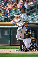 Cheslor Cuthbert (24) of the Omaha Storm Chasers at bat against the Salt Lake Bees in Pacific Coast League action at Smith's Ballpark on August 16, 2015 in Salt Lake City, Utah. Omaha defeated Salt Lake 11-4. (Stephen Smith/Four Seam Images)