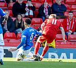 03.03.2019 Aberdeen v Rangers: Connor Goldson fouls Gary Mackay-Steven for penalty