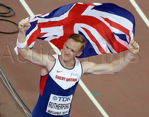 25.08.2015. Beijing, China.  Greg Rutherford of Great Britain celebrates after winning the gold medal in the men's Long Jump final of the Beijing 2015 IAAF World Championships at the National Stadium, also known as Bird's Nest, in Beijing, China, 25 August 2015.