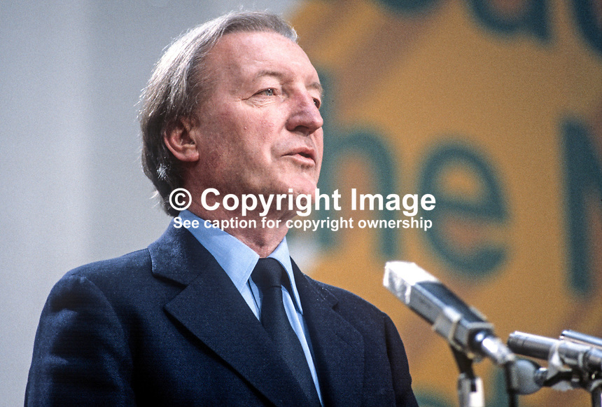 Charles Haughey, TD, Prime Minister, Taoiseach, Rep of Ireland, addressing the Fianna Fail Ard Fheis, February 1981. 198102000032CH1.<br />