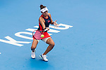 Wang Qiang of China competes against Dayana Yastremska of Ukraine during the singles final match at the WTA Prudential Hong Kong Tennis Open 2018 at the Victoria Park Tennis Stadium on 14 October 2018 in Hong Kong, Hong Kong.