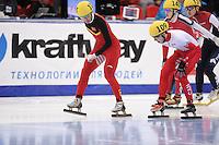 "SHORT TRACK: MOSCOW: Speed Skating Centre ""Krylatskoe"", 15-03-2015, ISU World Short Track Speed Skating Championships 2015, Quarterfinals 1000m Men, Dajing WU (#115 | CHN), Samuel GIRARD (#109 | CAN), ©photo Martin de Jong"